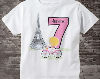 Seventh Paris Birthday Shirt, Pink 7 Birthday Shirt, Personalized Girls Birthday Shirt Pink Age and Name Tee for kids 12232014a