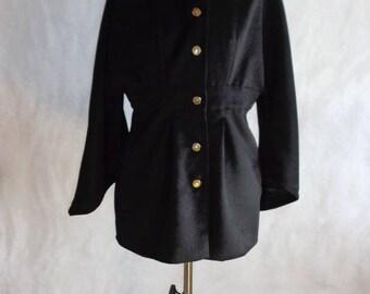 Embroidered black hooded kimono jacket