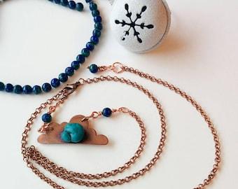 Copper cloud pendant with turquoise howlite & green lapis malachite/weather necklace/chmurka/naszyjnik/pogoda