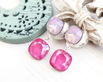 Candy pink Swarovski crystal earrings Wedding bridesmaid earrings Sterling Silver stud earrings Square pink cushion cut crystal earrings 1