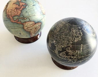 Globes maps vintage etsy nz vintage world map globe with optional wooden stand gumiabroncs Image collections