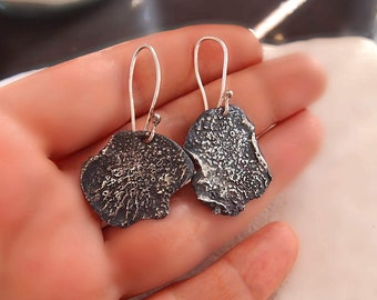 Oxidized Silver Dangle Earring, Silversmith Jewelry, One of A Kind
