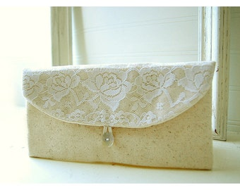 white lace clutch purse, rustic wedding, bridesmaid clutch, wedding clutch, shabby chic, Personalize purse Bridesmaid gift, Gift Under 25