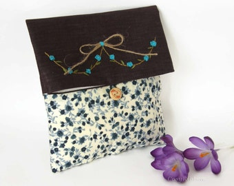 Fabric Clutch Bag  Purple and Blue , Foldover Make up bag , Floral  and Linen Cluth Bag , Bridesmaid Clutch Bag , Cosmetic Bag , Travel Bag