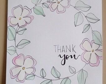 Thank You Card, Thank You Watercolor Card, Greeting Card, Watercolor Card, Thank You, Custom Card, Handmade Card
