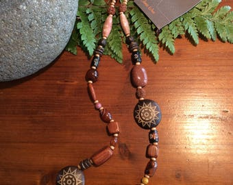 Mixed wooden necklace with sunstone