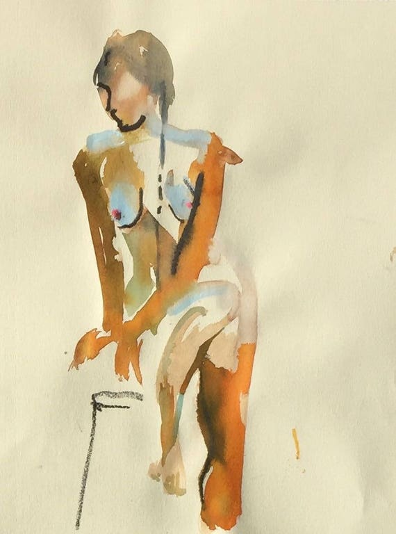 Nude painting- Original watercolor painting of Nude #1453 by Gretchen Kelly