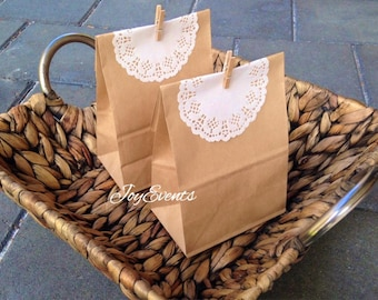 50x Kraft Paper Bags with Lace Doilies & Pegs - Party Treat - Baby Shower - Wedding Favour - Cookie Lolly Chocolate Candy Christmas Gift Bag