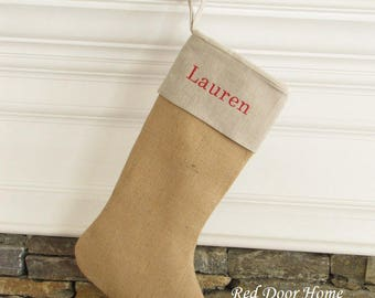 Personalized Burlap Christmas Stocking Linen Embroidered Name Monogram Country Living