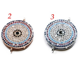 Lovely Bead Multicolor CZ Pave Coin Connector (19mm)