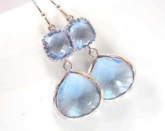 Light Blue Earrings, Aquamarine, Soft Blue, Light Sapphire, Periwinkle Silver, Wedding Jewelry, Bridesmaid Earrings, Bridal Earrings Jewelry