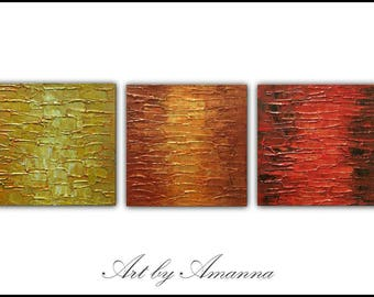 """SALE, Original Painting, Set of 3 Abstract Painting, Modern painting, Contemporary Art, Texture Painting, Wall Decor 36""""x12"""" Ready to Hang"""