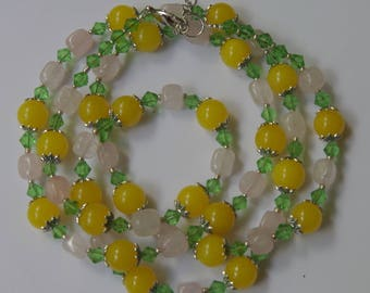 "Yellow green pink flapper necklace 36"" Extra long double wrap Jade rose quartz Sparkly gemstone jewelry Layered necklace Semiprecious stones"