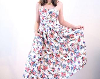 Perpetua, 80s Floral Dress S, Floral Party Dress, Vintage Sundress, Full Skirt Dress, 1950s Style Dress, White Pink Print Cotton Sundress