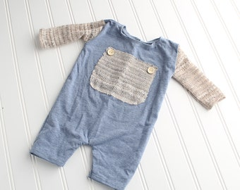 Brayden - Sitter 6-9m  long sleeve romper shortalls in dusty blue heather knit with beige tan sweater knit sleeves and wood buttons (RTS)