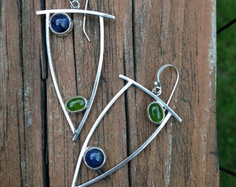 Open Silver Shields with Jade and Sodalite, Sterling Silver, Hand Crafted