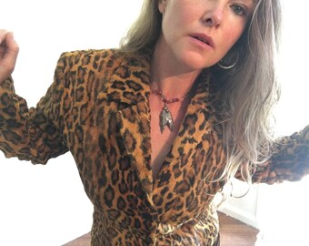 90's Grunge/Punk Jacket, Leopard Print, Tailored, Soft, Size Small-Med, S-M