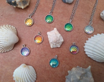 Mermaid style pendant, fish, flakes, mermaid, pendant, necklace.