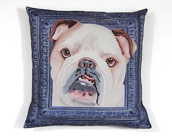 English Bulldog Pillow Cover - White and Beige - Square Bulldog Pillow