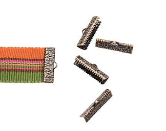 16 pieces  22mm (7/8 inch)  Antique Copper Ribbon Clamp End Crimps - Artisan Series