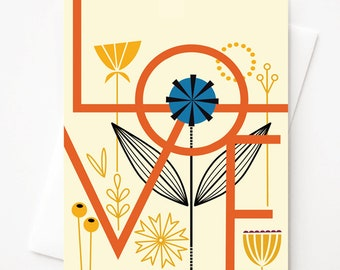 Love, Blank A2 greeting card with envelope by Amber Leaders
