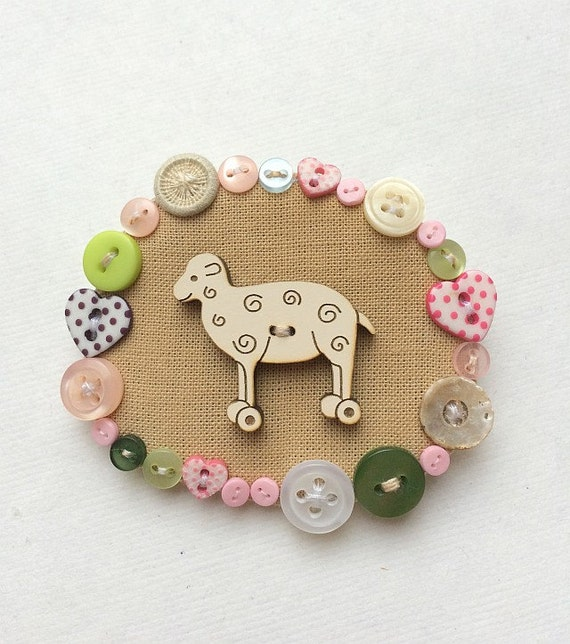 "Brooch  -  ""The Button Sheep"", hand embroidery  textile jewelry"