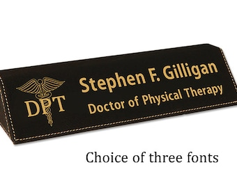Doctor of Physical Therapy DPT Personalized Desk Name Plate Black Leatherette Desk Name Wedge