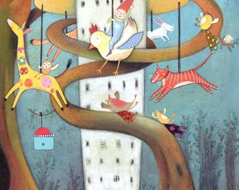 The Tree Carousel - Giclee Print - Fantasy Art - Carousel - Animal Illustration - Nursery Print