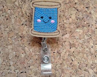 Badge Reels, SEWING THREAD Badge Reel, Felt Badge Reel, Retractable ID Name Holder, Nurse Badge,  Teacher Gift, 785