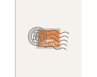 Brandenburg Gate, Berlin Stamp - 8x10 Art Print