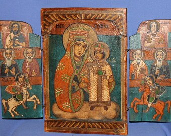 Vintage Tempera/wood Tryptich Icon Virgin Mary Christ Child