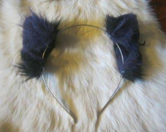 Purple and Black Kitten Ears