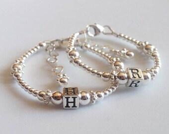 Name Bracelet, sterling silver, infant bracelet, baby bracelet, First Birthday Bracelet, Childrens Silver bracelet