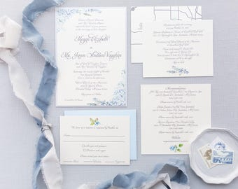 CUSTOM ORDER Formal Elegant Grey Silver Light Blue Hydrangea Wedding Invitation with Inserts & Map