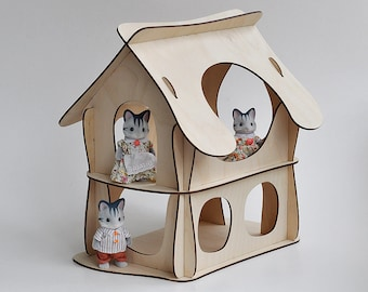 Fairy doll house. Vector model for laser cut. Instant download