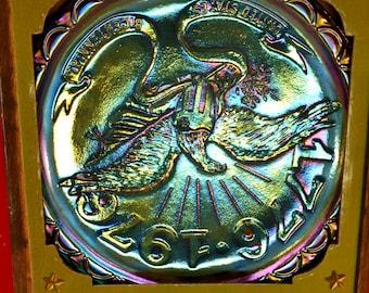 1776 American Commemorative Plate - Blue Carnival Glass