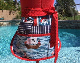 Pirate Ahoy Sassy Teacher Apron, Half Apron with 6-8 pockets, Plus Sizes, Vendors, Gardening, Utility, Teacher Gifts,  Back to School