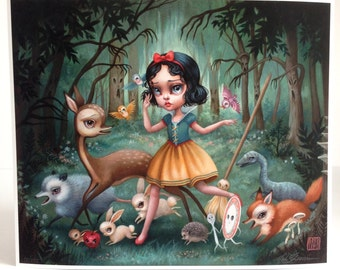 Snow White in the Black Forest - Limited Edition signed numbered 12x10 pop surrealism Fine Art Print by Mab Graves