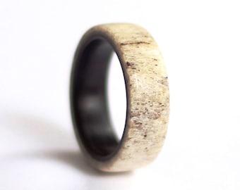 Mens Antler Ring, Ebony Wedding Ring, Natural Wood  Wedding band