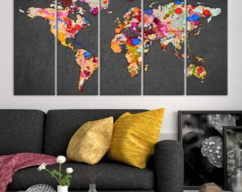 World map canvas etsy 5 piece extra large wall art watercolor world map canvas print colourful ink splashed world map on gray background canvas print gumiabroncs Images