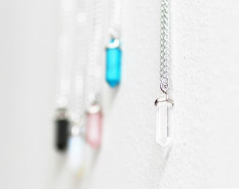 Clear crystal healing stone necklace chakra