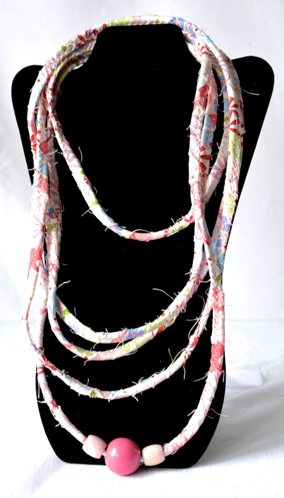 Summer Rope Necklace, Pink Infinity Necklace, Handmade Wrap Fiber Jewelry, Skinny Multi Strand Necklace