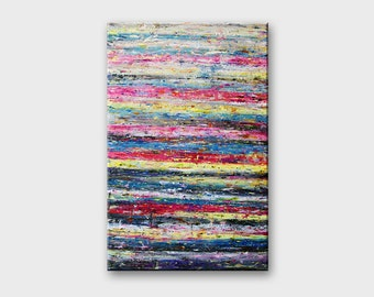 Wall art canvas abstract painting - acrylic painting on canvas abstract original - contemporary art - wall decor canvas - pink grey wall art