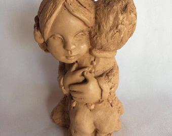 """Fannykins """"Boy & Girl Hugging"""" Solar Statuary by Bill Mack"""