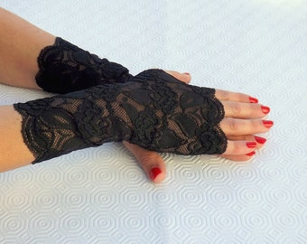 Lace fingerless gloves. Elastic floral lace mittens, Black/ Gold/ Red/ White/ Ivory/ White lace gloves.