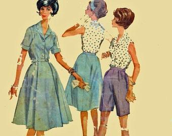 Vintage 60s Womens Sewing Pattern / McCalls 5779 Wrap Skirt Blouse Bermuda Shorts Pattern / 1960s Retro Vintage Sewing Pattern Bust 33 SZ 12