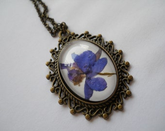 Purple real pressed larkspur flower oval pendant necklace, antique brass, resin jewelry, delphinium necklace, botanical jewelry, terrarium