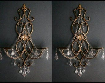 ONE Double Pillar Candle Wall Sconce in Antique Gold with Clear Crystals MADE To ORDER