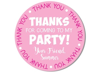 Thanks for Coming to my Party Gift Stickers, Personalized Birthday Favor Stickers, Girls Gift Stickers