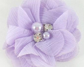 "2"" Lavender chiffon rhinestone and pearl flower - Petite fabric flowers - Small flowers - Lavender flowers - Wedding flowers"